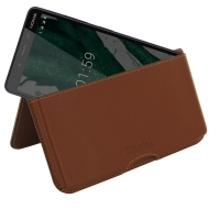 Leather Wallet Pouch for Nokia 1 Plus (Brown)