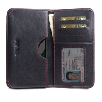 Leather Card Wallet for Nokia 1 Plus (Red Stitch)
