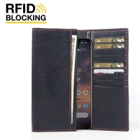 Continental Leather RFID Blocking Wallet Case for Nokia 3.2 (Black Pebble Leather/Red Stitch)