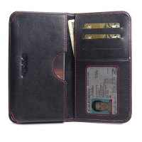 Leather Card Wallet for Nokia 3.2 (Red Stitch)