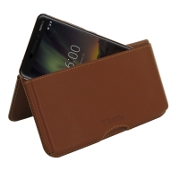 Leather Wallet Pouch for Nokia 6.1 (Brown)