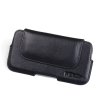 Luxury Leather Holster Pouch Case for Nokia 7 (Black Stitch)