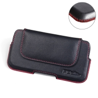 Luxury Leather Holster Pouch Case for Nokia 7 (Red Stitch)