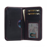 Leather Card Wallet for Nokia 7 (Red Stitch)