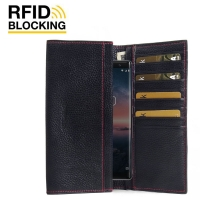 Continental Leather RFID Blocking Wallet Case for Nokia 8 Sirocco (Black Pebble Leather/Red Stitch)