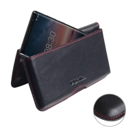 Leather Wallet Pouch for Nokia 8 Sirocco (Red Stitch)
