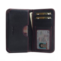 Leather Card Wallet for Nokia 8 Sirocco (Red Stitch)