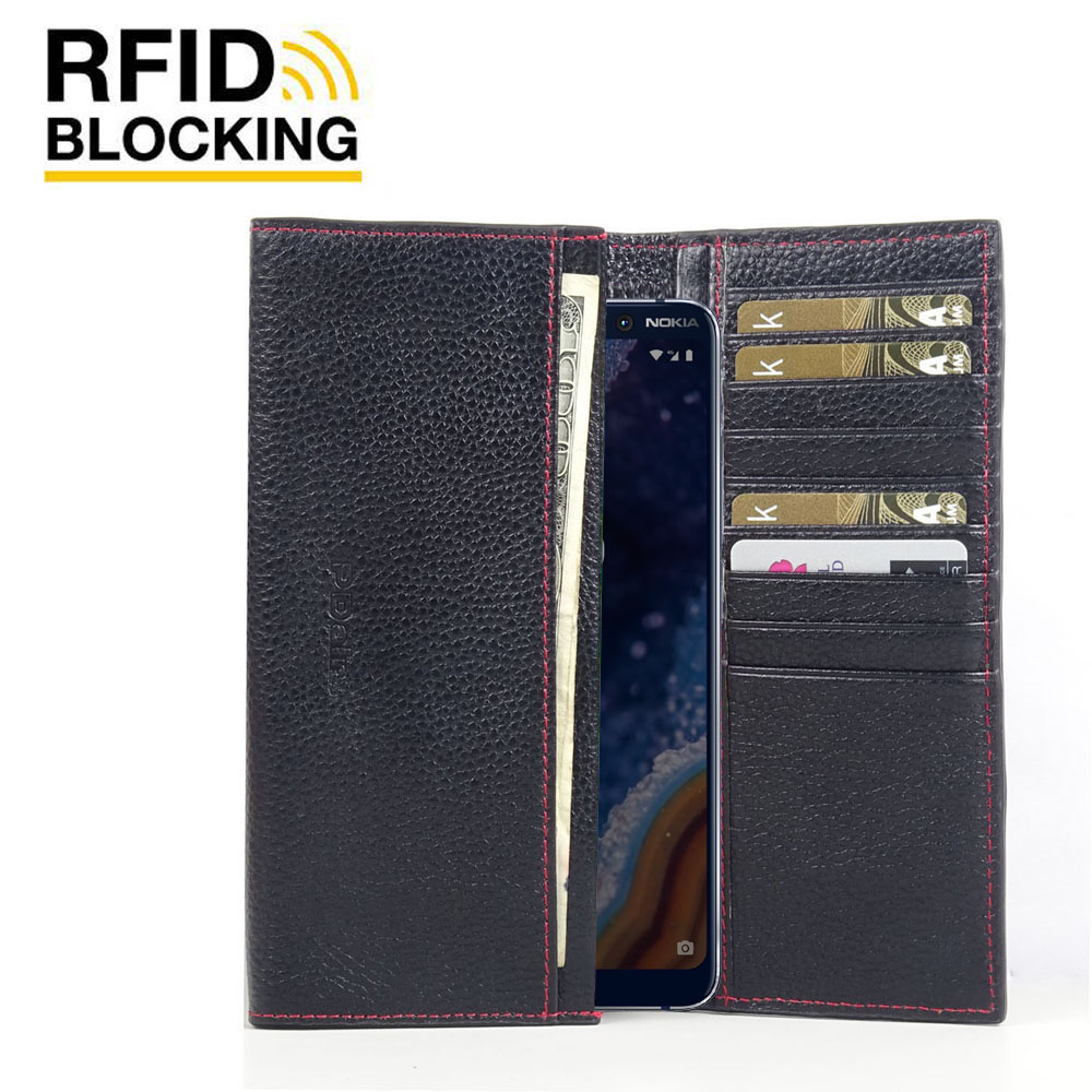 10% OFF + FREE SHIPPING, Buy the BEST PDair Handcrafted Premium Protective Carrying Nokia 9 PureView Leather Continental Sleeve Wallet (Red Stitching). Exquisitely designed engineered for Nokia 9 PureView.