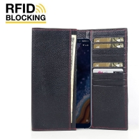 Continental Leather RFID Blocking Wallet Case for Nokia 9 PureView (Black Pebble Leather/Red Stitch)