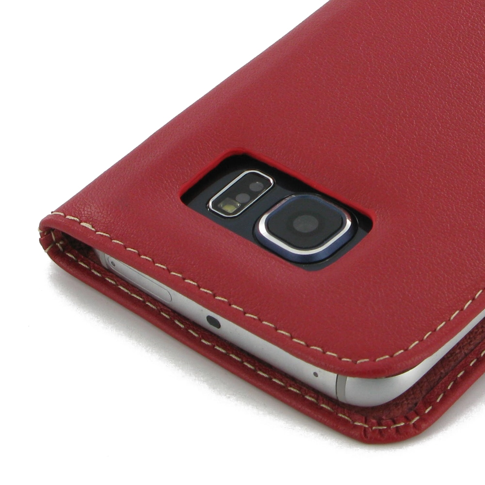 samsung galaxy s6 edge leather flip carry cover red. Black Bedroom Furniture Sets. Home Design Ideas
