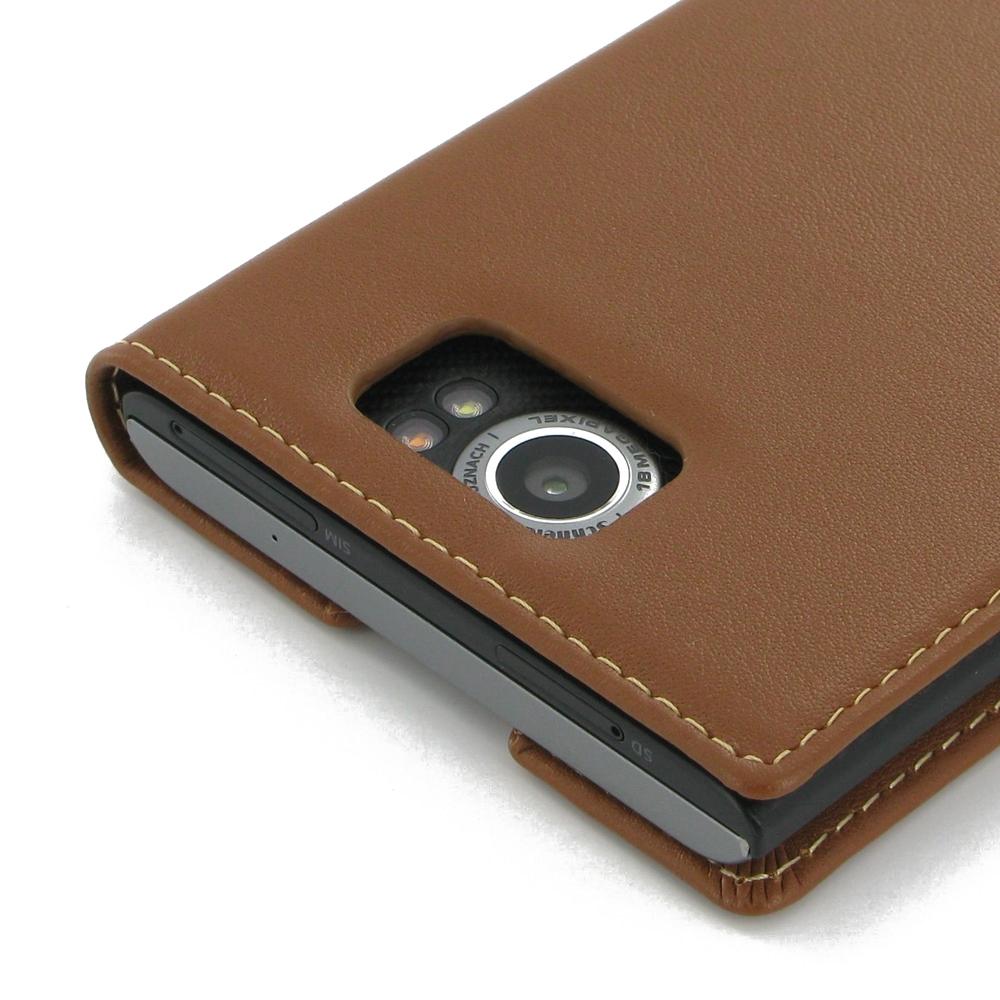 separation shoes fda3e e3cb2 BlackBerry Priv Leather Smart Flip Case Cover (Brown) :: PDair Pouch