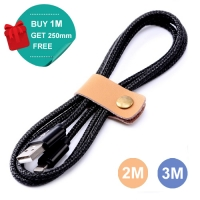 Nylon Micro USB or Lightning or Type-C to USB Sync Charging Data Cable (Black)