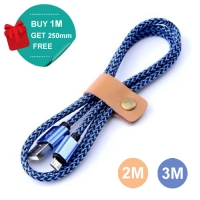 Nylon Micro USB or Lightning or Type-C to USB Sync Charging Data Cable (Blue)