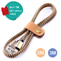 Nylon Micro USB or Lightning or Type-C to USB Sync Charging Data Cable (Gold)