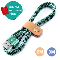 Nylon Micro USB or Lightning to USB Sync Charging Data Cable (Green)