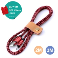 Nylon Micro USB or Lightning or Type-C to USB Sync Charging Data Cable (Red)