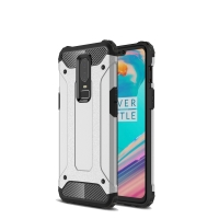 Hybrid Dual Layer Tough Armor Protective Case for OnePlus 6 (Silver)