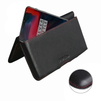 Leather Wallet Pouch for OnePlus 6 (Red Stitch)
