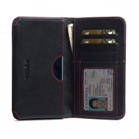 Leather Card Wallet for OnePlus 6 (Red Stitch)