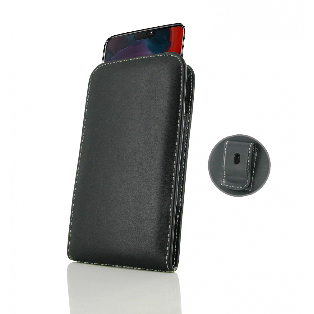 low priced 3a42f 1c22c Leather Vertical Pouch Belt Clip Case for OnePlus 6