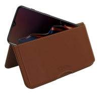 Leather Wallet Pouch for OnePlus 6T (Brown)