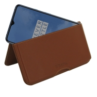 Leather Wallet Pouch for OnePlus 7T (Brown)