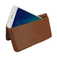 Leather Wallet Pouch for OPPO A57 (Brown)
