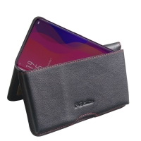Leather Wallet Pouch for OPPO Find X (Red Stitch)