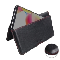 Leather Wallet Pouch for OPPO R11s Plus (Red Stitch)