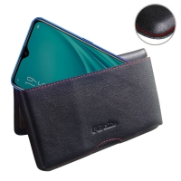 Leather Wallet Pouch for  OPPO R15x (Red Stitch)