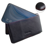 Leather Wallet Pouch for OPPO Reno 10x zoom (Red Stitch)
