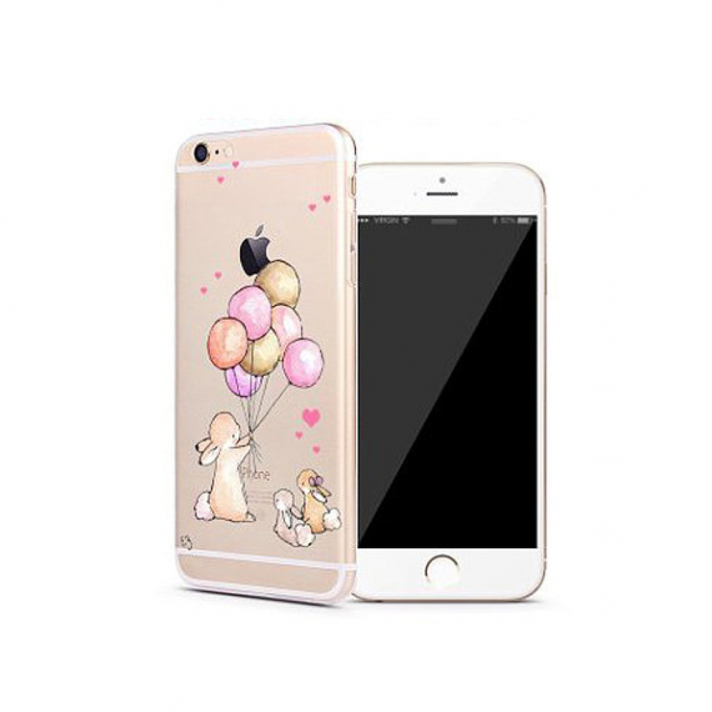 10% OFF + FREE SHIPPING, Buy PDair iPhone Pattern Printed Soft Clear Case Rabbit Balloon Party which is available for iPhone 5 | iPhone 5s SE 6 6s, iPhone 6 Plus | iPhone 6s Plus. You also can go to the customizer to create your own stylish leather case i