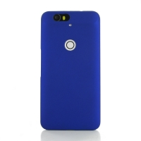 Nexus 6P Rubberized Hard Cover (Blue) PDair Premium Hadmade Genuine Leather Protective Case Sleeve Wallet