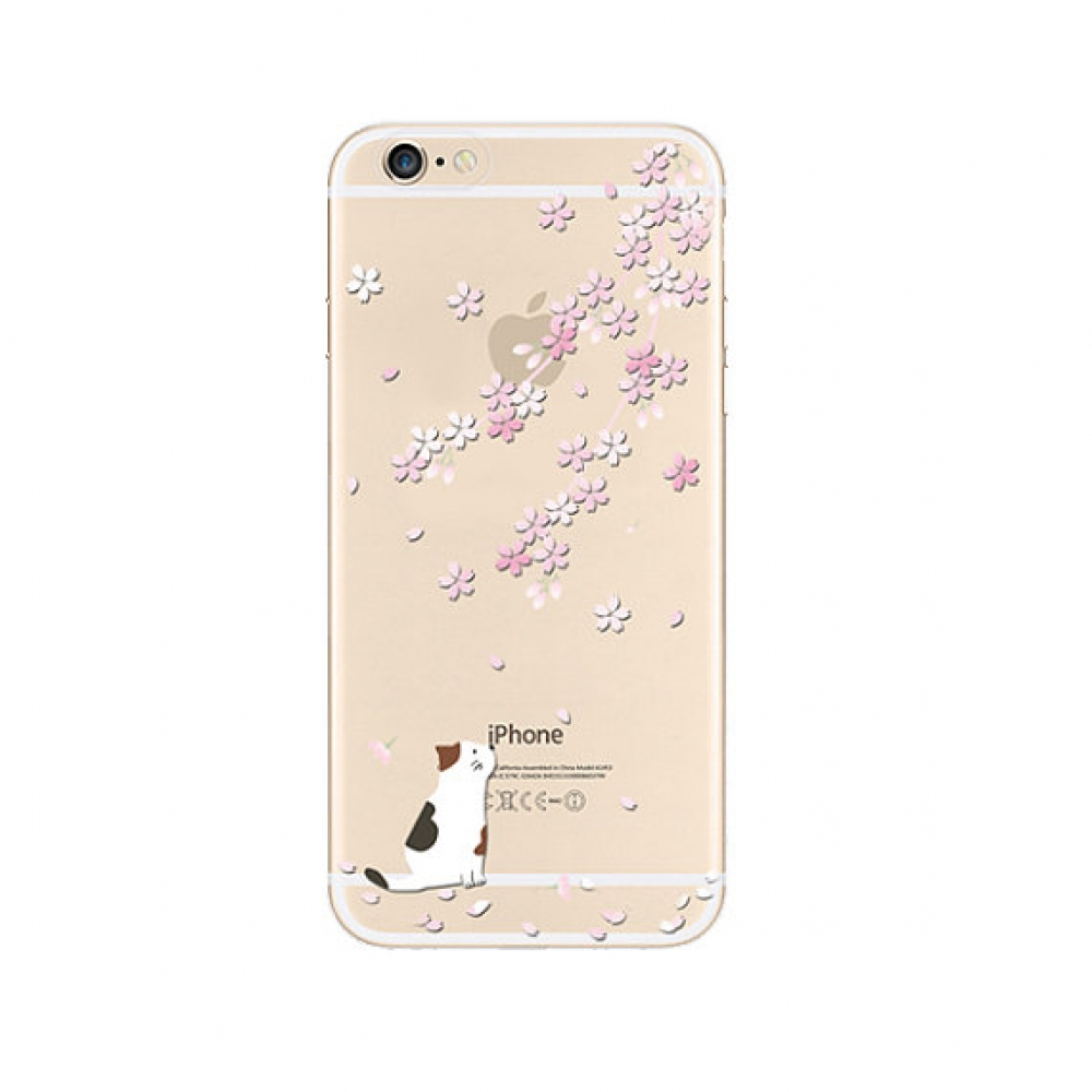 iPhone 6s 6 Plus SE 5s 5 Pattern Printed Soft Clear Case (Sakura Cat) :: PDair