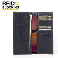 Continental Leather RFID Blocking Wallet Case for Samsung Galaxy A20 (Black Pebble Leather/Red Stitch)