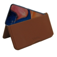 Leather Wallet Pouch for Samsung Galaxy A20 (Brown)