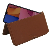 Leather Wallet Pouch for Samsung Galaxy A20s (Brown)