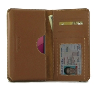 Leather Card Wallet for Samsung Galaxy A20s (Brown)
