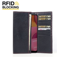 Continental Leather RFID Blocking Wallet Case for Samsung Galaxy A20s (Black Pebble Leather/Red Stitch)
