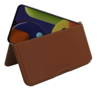 Leather Wallet Pouch for Samsung Galaxy A50s (Brown)