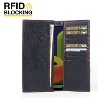 Fashion meets function in a beautifully complex, Samsung Galaxy A50s Leather RFID Blocking Continental Sleeve Wallet (Red Stitching) has the timeless elegance of highlights the slender contours. Beautifully crafted in top quality leather, this functional