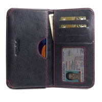 Leather Card Wallet for Samsung Galaxy A60 (Red Stitch)