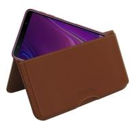 Leather Wallet Pouch for Samsung Galaxy A7 (2018) (Brown)