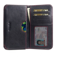 Leather Card Wallet for Samsung Galaxy A80 (Red Stitch)