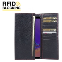 Continental Leather RFID Blocking Wallet Case for Samsung Galaxy A9 (2018) (Black Pebble Leather/Red Stitch)