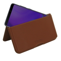 Leather Wallet Pouch for Samsung Galaxy A9 (2018) (Brown)