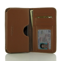 Leather Card Wallet for Samsung Galaxy C5 (Brown)