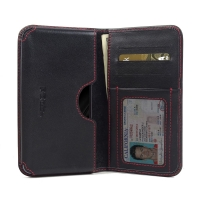 Leather Card Wallet for Samsung Galaxy C5 (Red Stitch)