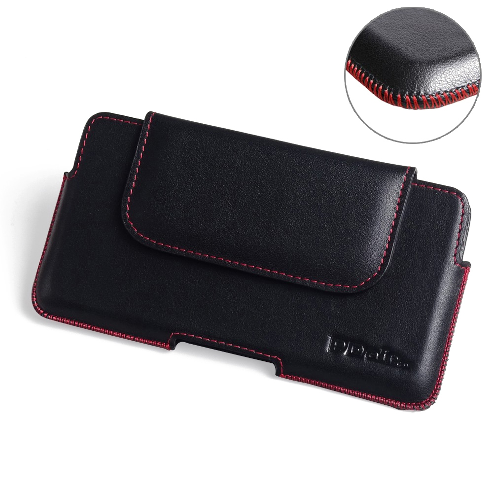 Samsung Galaxy C7 Pro Leather Holster Pouch Case (Red Stitch) PDair Premium Hadmade Genuine Leather Protective Case Sleeve Wallet