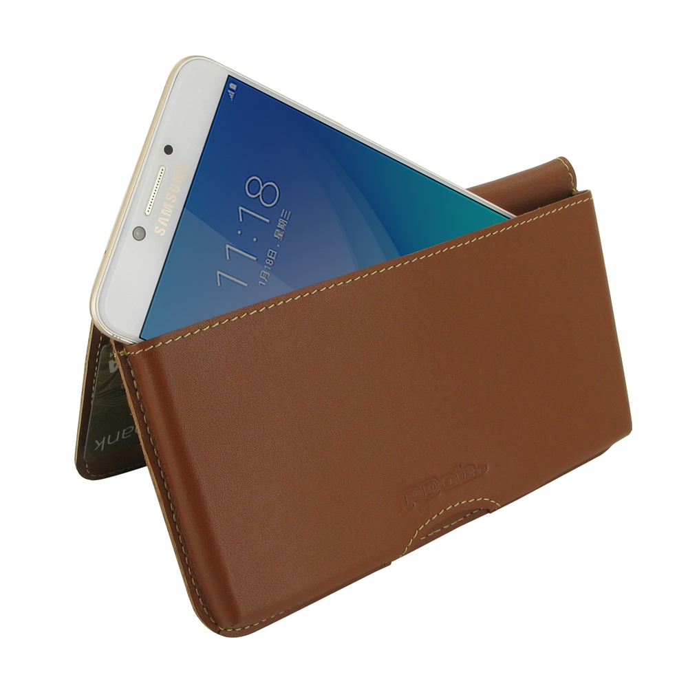 10% OFF + FREE SHIPPING, Buy Best PDair Handmade Protective Samsung Galaxy C7 Pro Genuine Leather Wallet Pouch Case (Brown). Pouch Sleeve Holster Wallet You also can go to the customizer to create your own stylish leather case if looking for additional co